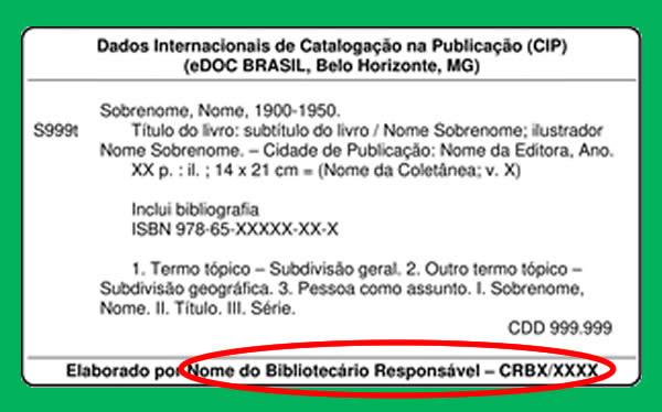 Regulamentação das fichas catalográficas: assinatura do bibliotecário deverá estar localizada no rodapé da ficha catalográfica